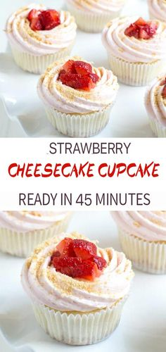 Strawberry Cheesecake Cupcakes ( Christmas ) - Vanilla cupcakes are stuffed with cream cheese filling and topped with strawberry buttercream and f - Mini Cheesecakes, Mini Cheesecake Cupcakes, Cream Cheese Cupcakes, Cupcake Cream, Carrot Cake Cheesecake, Cream Cheese Filling, Pie Cake, Strawberry Filled Cupcakes, Strawberry Cupcake Recipes