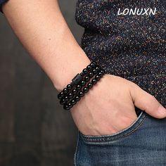 High Quality natural Obsidian Bracelet Mens 8mm beads couple bracelets female Korean Lucky brave women jewelry crystal love gift #Affiliate