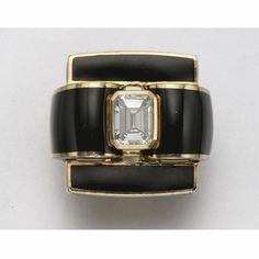 18K GOLD, BLACK ENAMEL AND DIAMOND RING, DAVID WEBB   Lot   Sotheby's