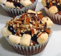 """Mississippi Mud Cupcakes: """"These dynamite little chocolate cakes need to come with a warning label! When I tasted the first one, my eyes simply rolled back with delight!""""  -Sue Lau"""