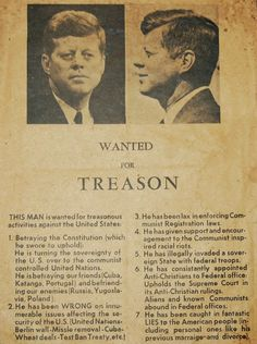 """Right-wing terrorism took root long before President Obama was elected. This """"treason flyer"""" was distributed a few weeks prior to President Kennedy's assassination in Dallas, November 22, 1963"""