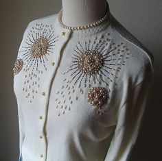 Pearlized Champagne and Ivory Elaborately Beaded Sweater by STORYK Embroidery On Kurtis, Kurti Embroidery Design, Bead Embroidery Patterns, Embroidery Fashion, Hand Embroidery Designs, Embroidery Dress, Beaded Embroidery, Vintage Outfits, Vintage Fashion