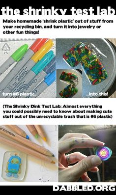 Make jewelry out of old plastic containers (homemade shrinky dinks)