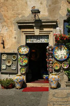 Italy--Orvieto or Deruta? Great people, ceramics, and food. Places Around The World, Around The Worlds, Italian Pottery, Colorful Roses, Shop Fronts, Sicily, Dream Vacations, Italy Travel, Beautiful Places