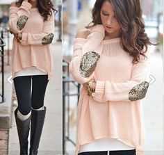 Pink Glitter Sequin Elbow Off Shoulder Dolman Long Sleeve Casual Pullover Sweater - Tops
