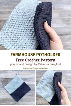 Farmhouse Potholder Double Sided Free Crochet Pattern- 3 Double Sided Crochet Potholders Patterns You'll Love If you like to cook and bake you'll most certainly appreciate these double sided crochet potholders patterns. They are perfect for your kitchen. Crochet Diy, Crochet Easter, Crochet Unique, Crochet Hot Pads, Crochet Home, Crochet Gifts, Things To Crochet, Crochet Owls, Crochet Kitchen