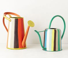 Design*Sponge - hand-painted watering cans Metal Watering Can, Watering Cans, Patio Plants, Can Design, Home Decor Inspiration, Creative Inspiration, Creative Ideas, Painting For Kids, Cool Items