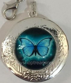 New Vintage Style Blue Butterfly Locket Necklace - Silver  bf