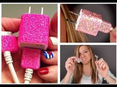 Sue - Glitter iPhone Charger Tutorial using Mod Podge, glitter and clear nail polish Glitter Charger, Crafts To Do, Diy Crafts, Burlap Crafts, Glitter Crafts, Iphone Charger, Diy Phone Case, Phone Diys, Phone Cases