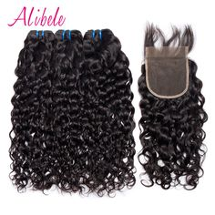 Cheap bundles with closure, Buy Quality bundles 4 directly from China bundles hair weave Suppliers: 3 Bundles With Closure Water Wave Brazilian Human Hair Bundles With 4x4 Closure Alibele Hair Weave Bundles 4 PCS Non-remy Hair
