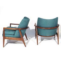 Milo Baughman; Walnut Lounge Chairs for Thayer Coggin, 1965.
