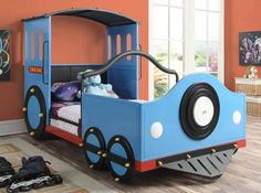 Your little one will love playing choo-choo and sleeping in this adorable Coaster Furniture Novelty Beds Collection Twin Train Bed - Blue . This bed. Kids Bedroom Designs, Kids Bedroom Sets, Boy Bedrooms, Girls Bedroom, Modern Bedroom Furniture, Bedroom Decor, Bedroom Ideas, Blue Furniture, Blue Bedroom
