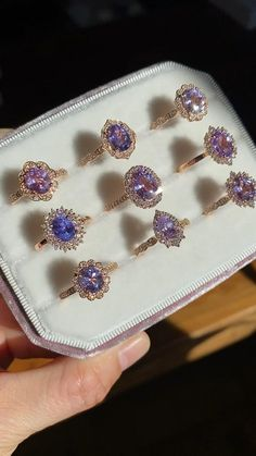 Purple Engagement Rings, Crystal Engagement Rings, Beautiful Engagement Rings, Vintage Engagement Rings, Crystal Ring, Purple Diamond, Purple Sapphire, Sapphire Rings, Halo Diamond