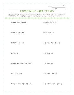 Combining like terms worksheet only positive numbers
