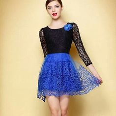 Blue and black drees with short skirt