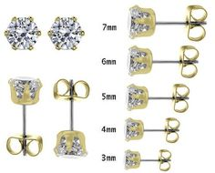 5 Pair Set of Gold Colored Stainless Steel Post Round Sparkling Clear Cubic Zirconia Stud Earrings Set Our Stud Earring Set Includes One Pair Each of 3mm 4mm 5mm 6mm 7mm - Jewelry For Her