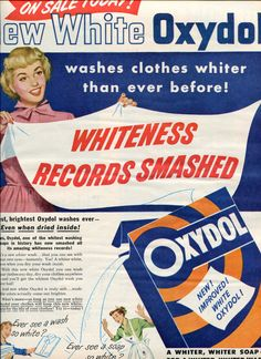 """Vintage 1940's Oxydol Bleach Laundry Soap Advertisement. The 1950s and 60s version was in a yellow and orange box. You got dishes in the soap as a bonus- usually the """"Wheat"""" pattern."""