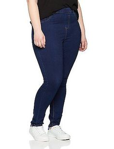 20, Blue (Navy), New Look Curves Women's 5 Pocket Jeans