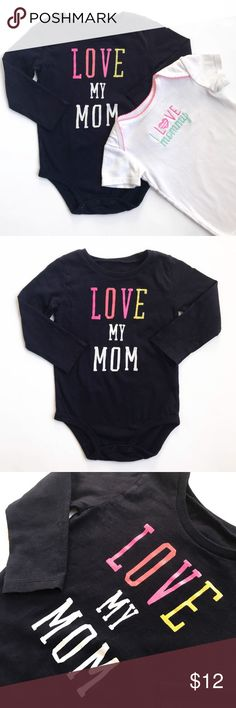 """Love Mom"" Onesie Bundle Long sleeved, Dark blue onesie ""Love My Mom."" Size 18m, by Oshkosh. Short sleeved, white onesie ""I Love Mommy."" Size 18m, by Carters. Both VGUC. One Pieces Bodysuits"