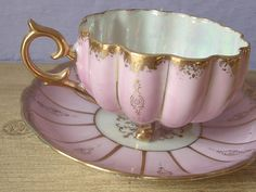 Antike 50er Royal Sealy Teetasse und Untertasse, Lusterware Tee Tasse Rosa Teetasse, japanische Teetasse, Porzellan-Tee-Set, Set, footed Tee...