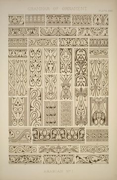 Owen Jones The Grammar of Ornament, Arabian ornaments from the ninth century from Cairo. (1856)