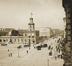 Warsaw City, Beautiful Buildings, Old Photos, Poland, Paris Skyline, Taj Mahal, The Past, Street View, Black And White