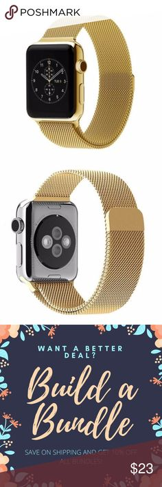 Gold Stainless Steel Apple Watch Band - 38mm This trendy and classic milanese loop watch band features a fully magnetic closure that allows you to adjust to any wrist size. This band is brand new and comes in the original packaging. #9WKDS Accessories Watches