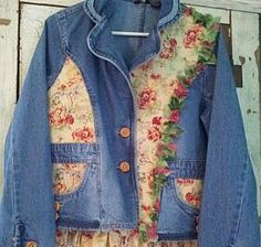 Desert Rose Upcycled Denim Jacket, Clothing :: Women :: Upcycled Clothing :: Clickin Cowgirls