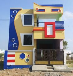 House Front Wall Design, House Balcony Design, 3 Storey House Design, Duplex House Design, Door Design, Front Elevation Designs, House Elevation, Compound Wall Design, 2bhk House Plan