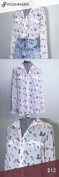 "Sheer Dog Print Button Down Top Super Cute Paper Tee Sheer Dog Print Button Down Top. Size S measures: 15"" across shoulders, 19"" across chest, 26"" long, 24"" sleeve. 60% cotton, 40% poly. 429/250/051517 Paper Tee Tops Button Down Shirts"