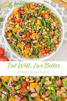 With simple flavors and fresh vegetables, this Mixed Bean Salad is the perfect combination of colorful and crunchy. Gluten Free Recipes, Vegetarian Recipes, Pescatarian Recipes, Recipe Mix, Recipe Boards, Dinner Salads, Recipe Details, Bean Salad, Egg Free