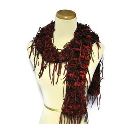 Ruffle Hand Knit Scarf  Red Burgundy by ArlenesBoutique on Etsy, $50.00