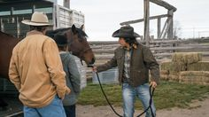 10 x 14 Jack, Amy and Scott getting a horsr out of the trailer Canada: NEW episode Sunday, Feb 19 - Heartland