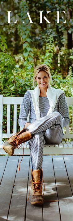 LAKE pima cotton pajamas. Long long set. Sailor stripe.