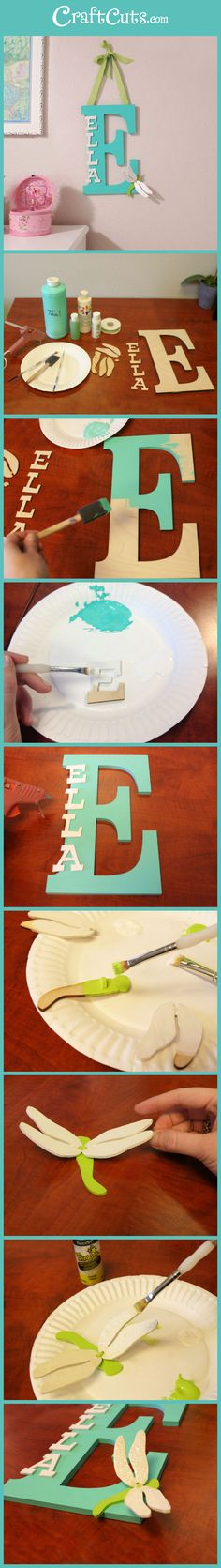 Turn+plain+wood+lettering+into+this+whimsical+monogram+for+your+kid's+room+|+CraftCuts.com