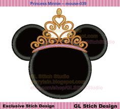 Princess Minnie Machine Embroidery Applique Design, Disney Stitch, Miss mouseTiara crown, mouse-039