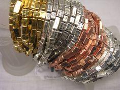 Hammered Beaded Multi-Strand Stretch Bracelet Set-Gold, RoseGold or Silver #KarineSultan #Beaded