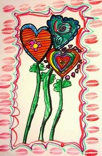 """Flowers from the """"heart""""  Stamping and markers."""