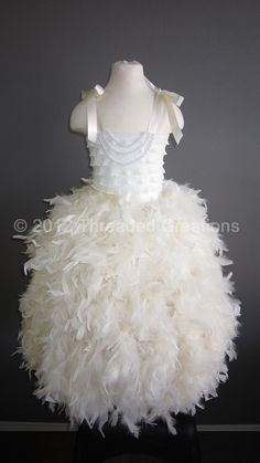 Feather Dress -  Feather Tutu Dress - Ivory Tutu Dress. $98.95, via Etsy.
