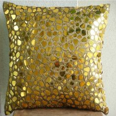 Gold Mosaic - Throw Pillow Covers - 16x16 Inches Silk Pillow Cover with Gold Accents. $25.30, via Etsy.