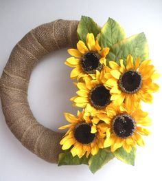Sunflower Burlap Wreath for summer