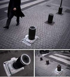Awesome Outdoor Ads: A guerrilla Canon ad that turns street barriers into Canon cameras