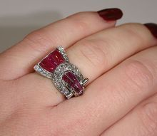 Exquisitely Detailed Ruby and Diamond Retro Platinum Cocktail Ring
