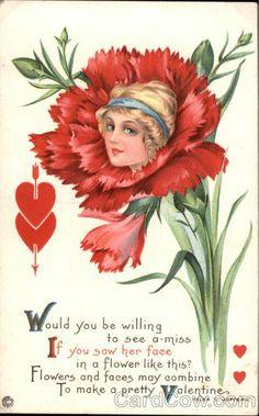 Divided Back Postcard Flower Face Valentine Fantasy Vintage Ephemera, Vintage Cards, Vintage Postcards, Vintage Circus Posters, Valentine Images, Vintage Valentine Cards, Valentine Cupid, Victorian Valentines, Old Greeting Cards