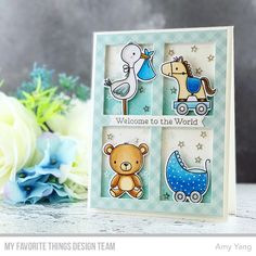 Stamps: Hello, Little One Die-namics: Hello, Little One, Gift Box Cover-Up, Hearts in a Row - Vertical Amy Yang #mftstamps