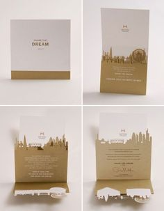 Cool cityscape laser cut invitation
