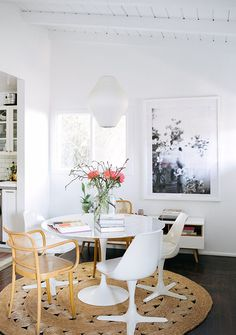 White dining room with natural fiber rub and two different chair styles Room, Room Design, Interior, Home Decor, Dining Room Decor Traditional, Dining Design, Interior Design, Round Dining Table Modern, Dining Table Design