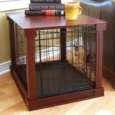 Dog Crate - Side table-style dog crate with a removable tray and divider.