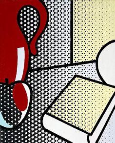 'Still Life with Red Pitcher', Oil by Roy Lichtenstein United States) Roy Lichtenstein, Pablo Picasso, James Rosenquist, Industrial Paintings, Claes Oldenburg, Pop Art Illustration, Jasper Johns, Comic Book Style, Art Courses