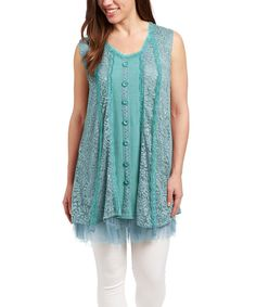 Another great find on #zulily! Aqua Lace-Fringe Linen-Blend Tunic by Pretty Angel #zulilyfinds